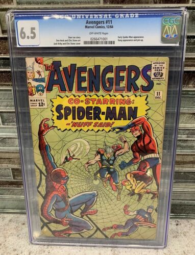Marvel Comics 12/64 AVENGERS #11 CGC Graded 6.5 Early Spider-Man Stan Lee