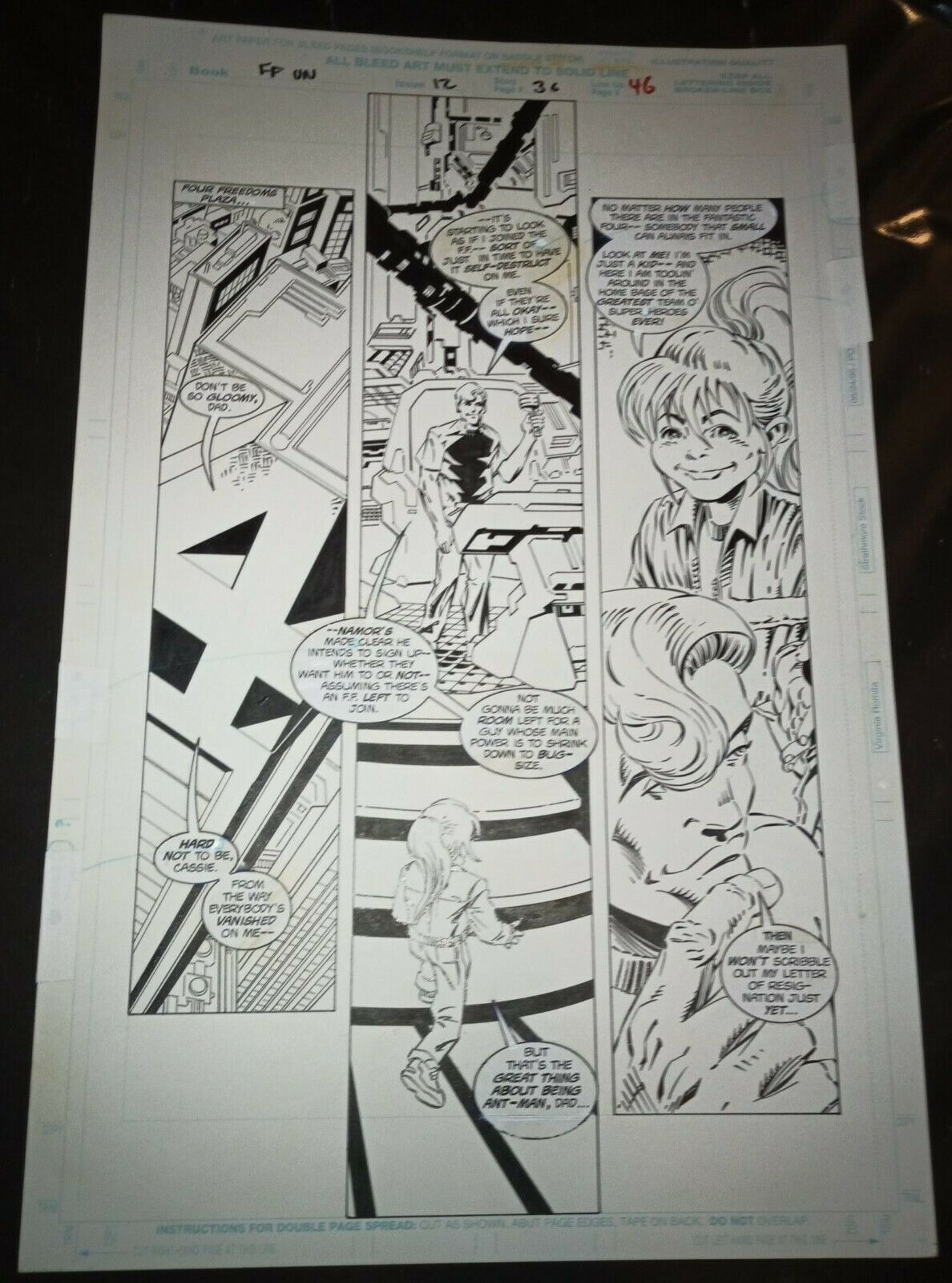 ***FANTASTIC FOUR UNLIMITED #12 Pg 36 B&W ORIGINAL TRIMPE & SIGNED BY LANNING***