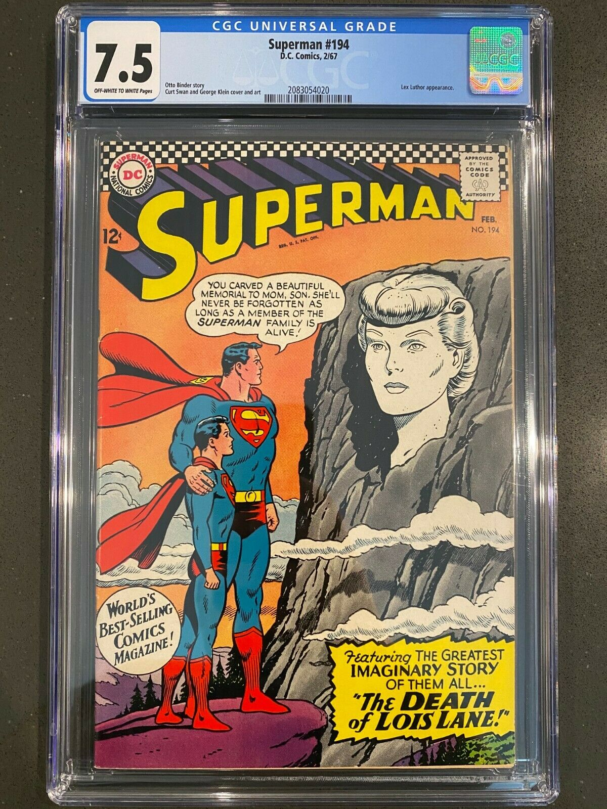 SUPERMAN #194 CGC 7.5 VF- DC Comics Silver Age Superman
