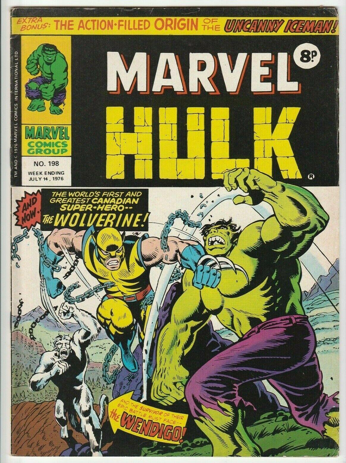 MIGHTY WORLD OF MARVEL Comic # 198 1976 British 1st App Wolverine UK - Hulk 181