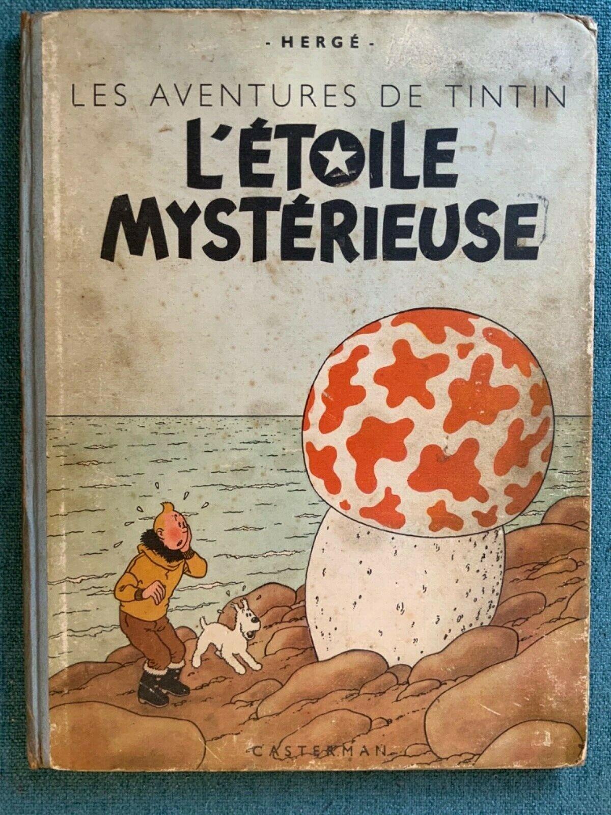 Magnifique TINTIN L'ÉTOILE MYSTÉRIEUSE - B1 de 1946 (Papier épais) en TBE