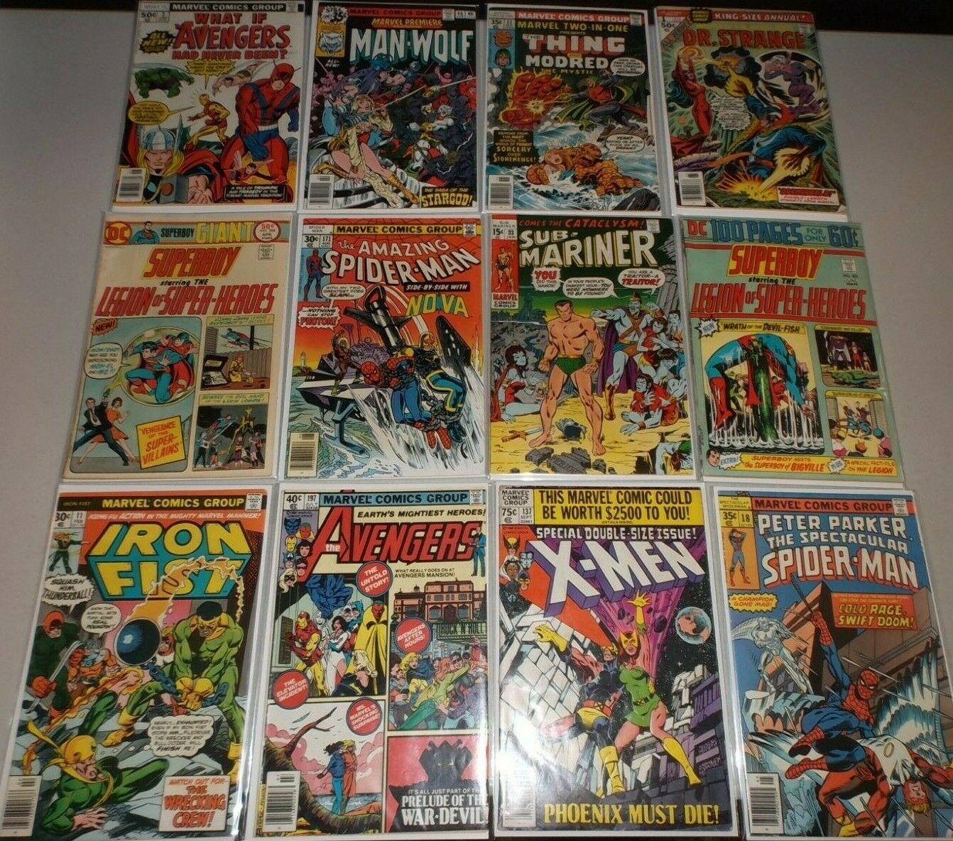 Bronze Age Marvel  DC (Lot x 12) X-Men 137, Iron Fist 11 Amazing Spider-Man 171