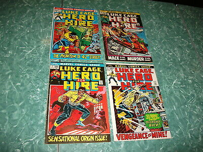1972-73  LUKE CAGE HERO FOR HIRE 1 2 3 4  Marvel comics 4  issue lot