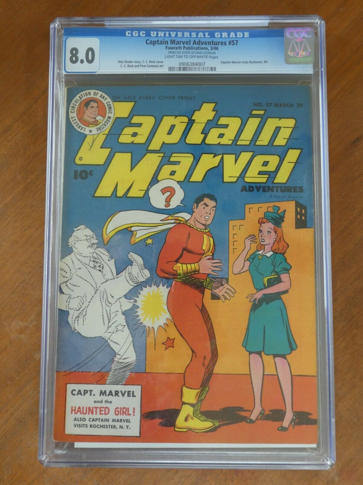 Captain Marvel Adventures 57 CGC 8.0 LT-OW Pages 1946 Golden Age Dave Cockrum