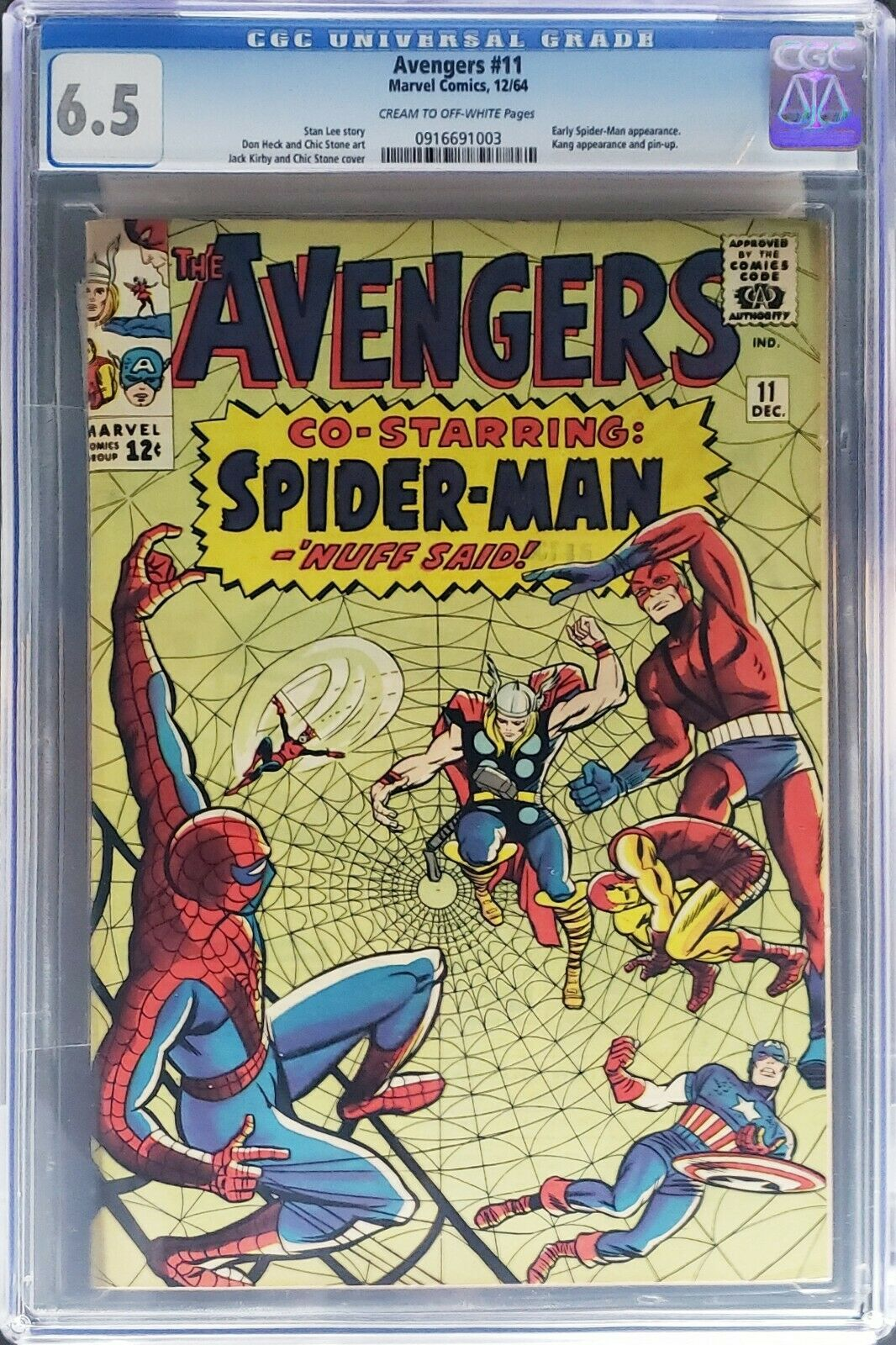 Avengers #11 CGC 6.5 - Early Spider-Man Appearance - Stan Lee Story  12/1964