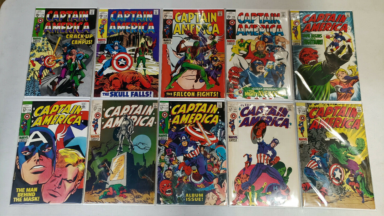 CAPTAIN AMERICA #110,111,112,113,114,115,116,118,119,120 SILVER AGE LOT OF 10