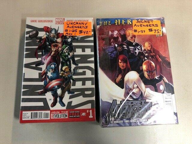 2 complete avengers sets uncanny avengers 1-25 secret avengers 1-37
