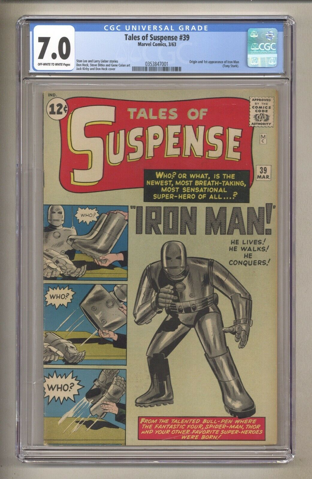 TALES OF SUSPENSE 39 (CGC 7.0) OW/W P; ORIGIN & 1ST IRON MAN; KIRBY 1963 MARVEL
