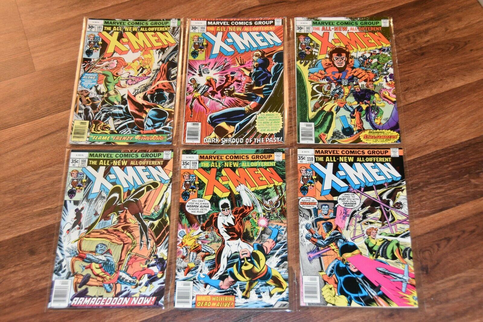 Lot of 6 Bronze Age Uncanny X-Men # 105 106 107 108 109 110 Marvel Comic Book