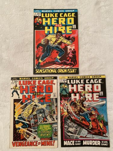 1972-73  LUKE CAGE HERO FOR HIRE 1 2 3 Marvel comics 3 issue lot