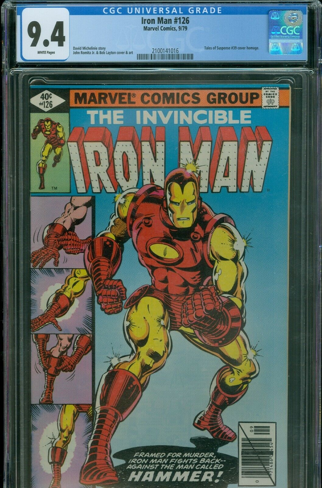 Iron Man 126 CGC 9.4 Near Mint White Pages Free Shipping
