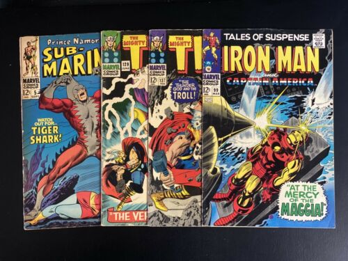 SILVER AGE MARVEL LOT - 4 Books Sub-Mariner 5, Thor 129,137 TOS 99 Iron Man
