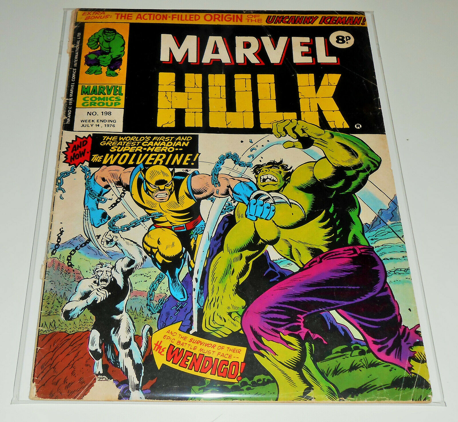 MIGHTY WORLD OF MARVEL no.198 Marvel UK 1976 Incredible Hulk 181 1st WOLVERINE