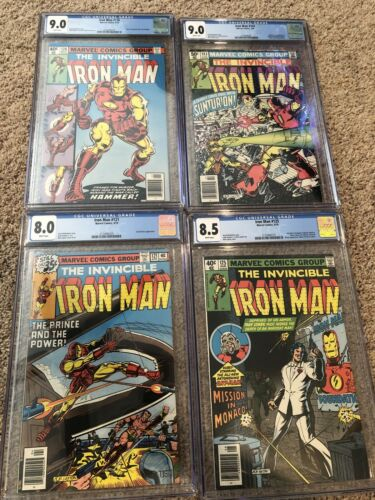 Iron Man CGC Lot: 121 (8.0), 125 (8.5) Ant-Man & Avengers, 126 (9.0), 143 (9.0)