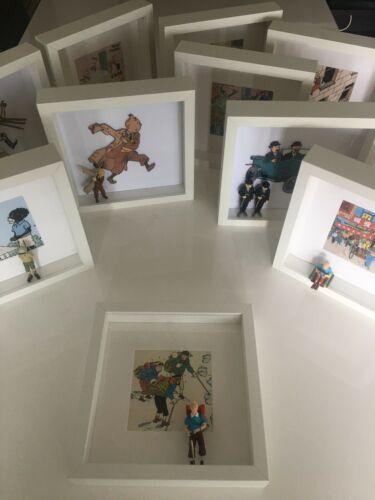 "Tintin ""Tim in Tibet"" Figur, Druck im Passepartout & Bilderrahmen -(Neu/Unikat)"