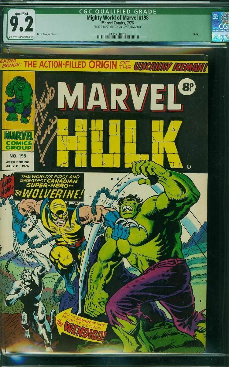 Mighty World of Marvel #198 HG CGC 9.2 1976 UK version of 1st WOLVERINE HULK 181