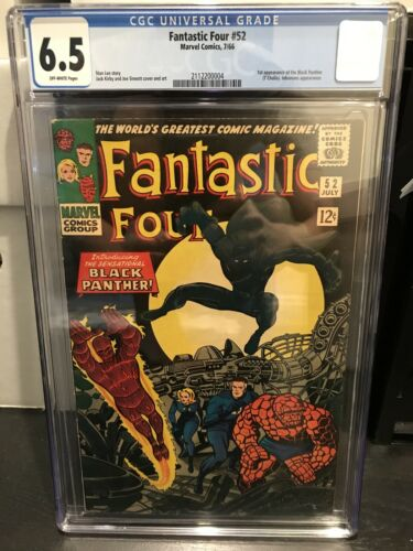 Fantastic Four #52 - CGC 6.5 FN+ OW Marvel 1966 - 1st App of The Black Panther