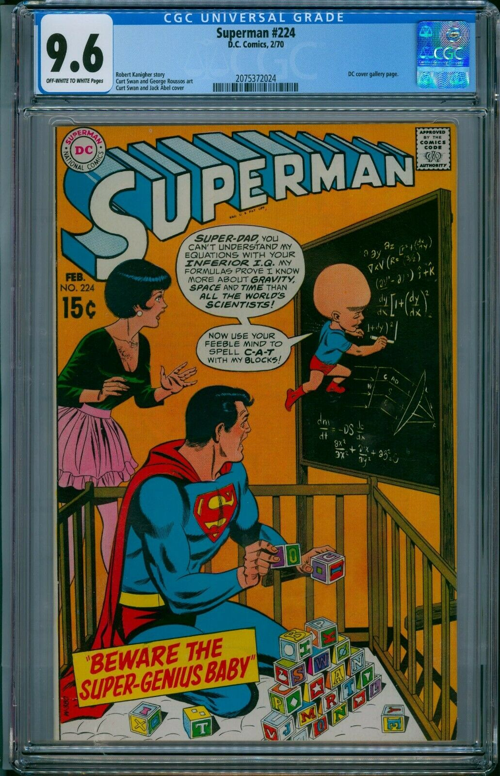 SUPERMAN #224 CGC 9.6 NM+ SUPER-GENIUS BABY 1970 DC CVR GALLERY CENTERED .99 NR
