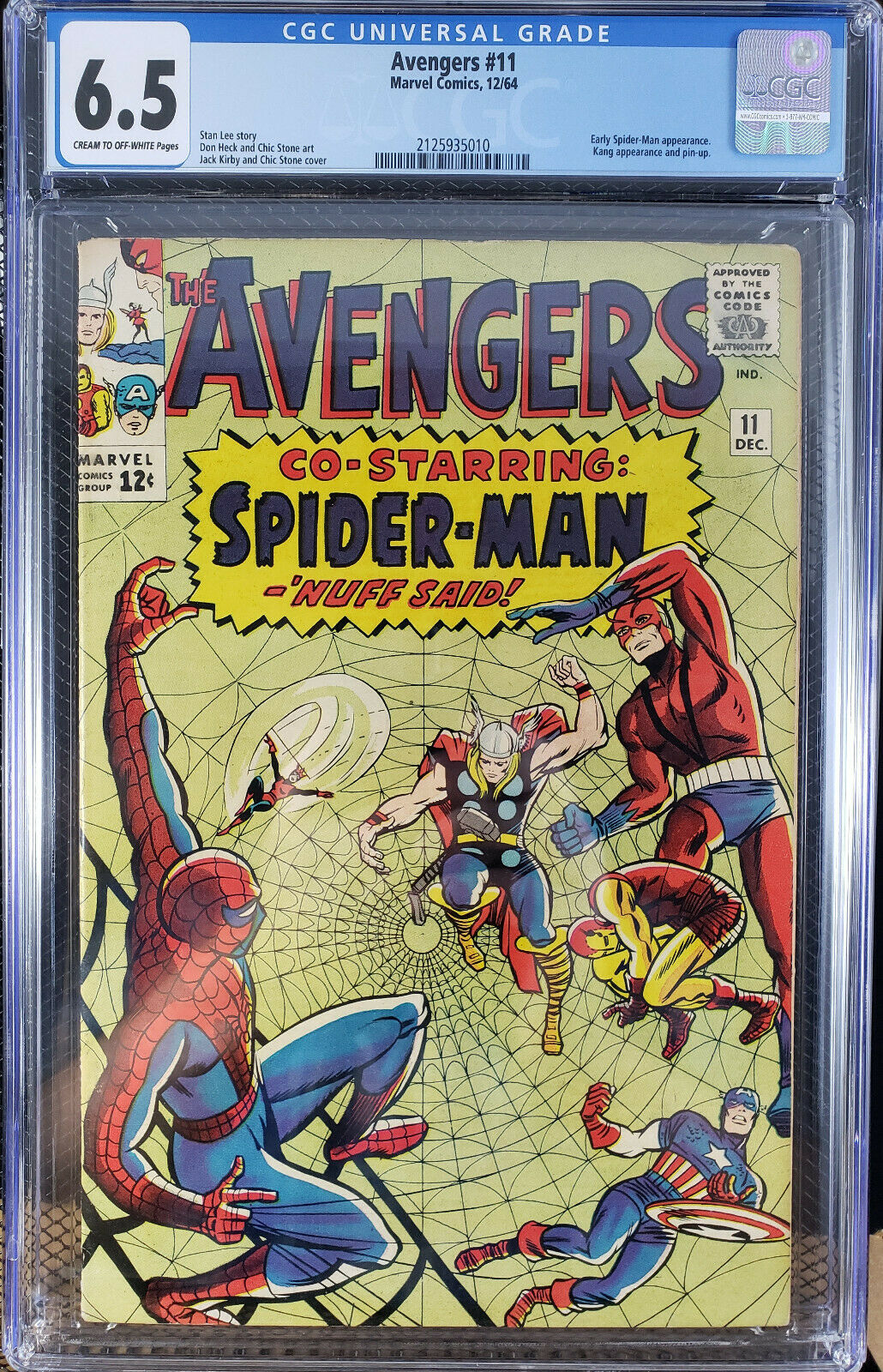 AVENGERS 11 CGC 6.5 Fine +  Co-Starring Spider-Man   Cheap