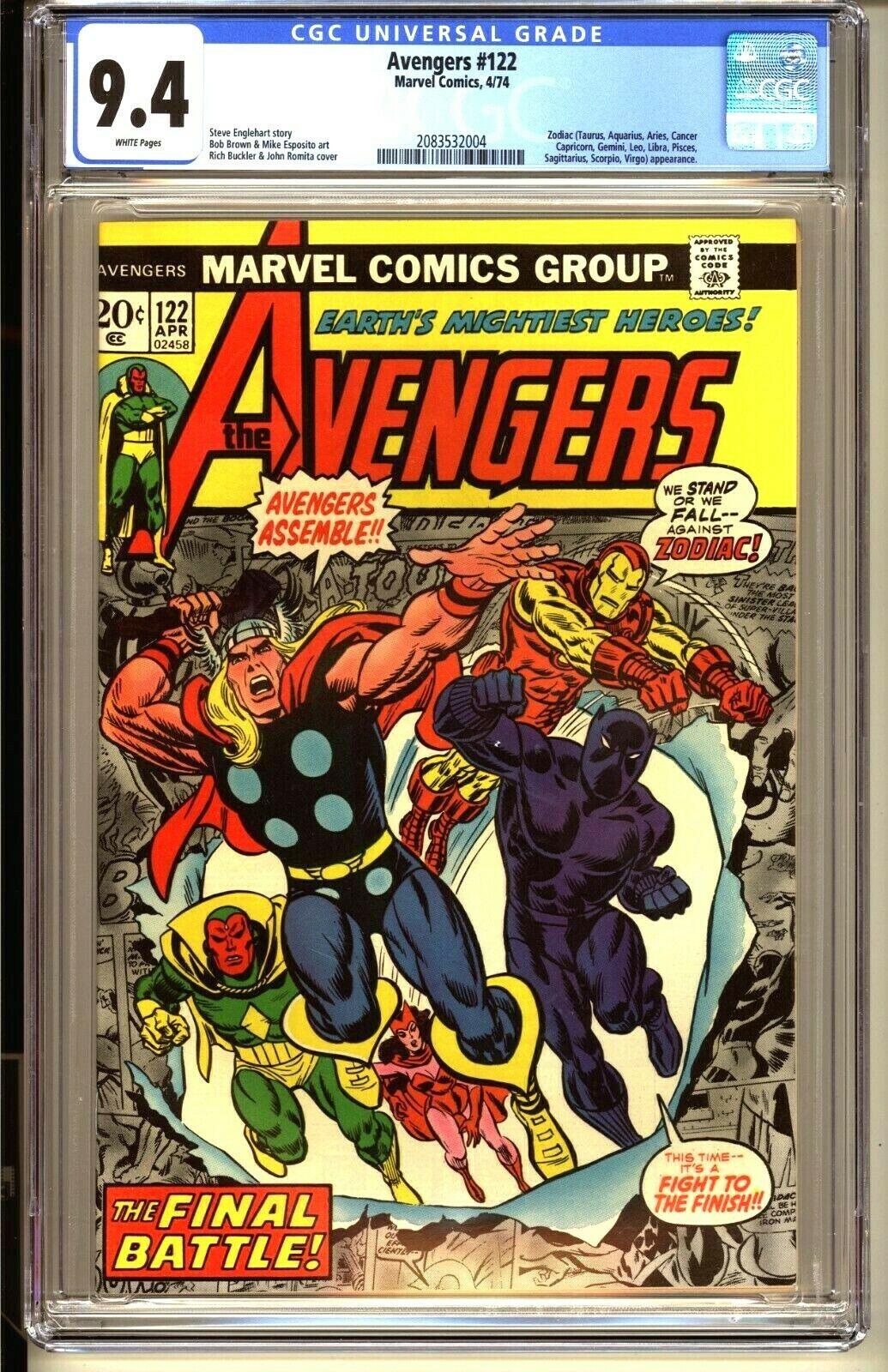 AVENGERS #122  CGC 9.4 WP NM  Marvel Comics 1974 Thor Iron Man Captain America