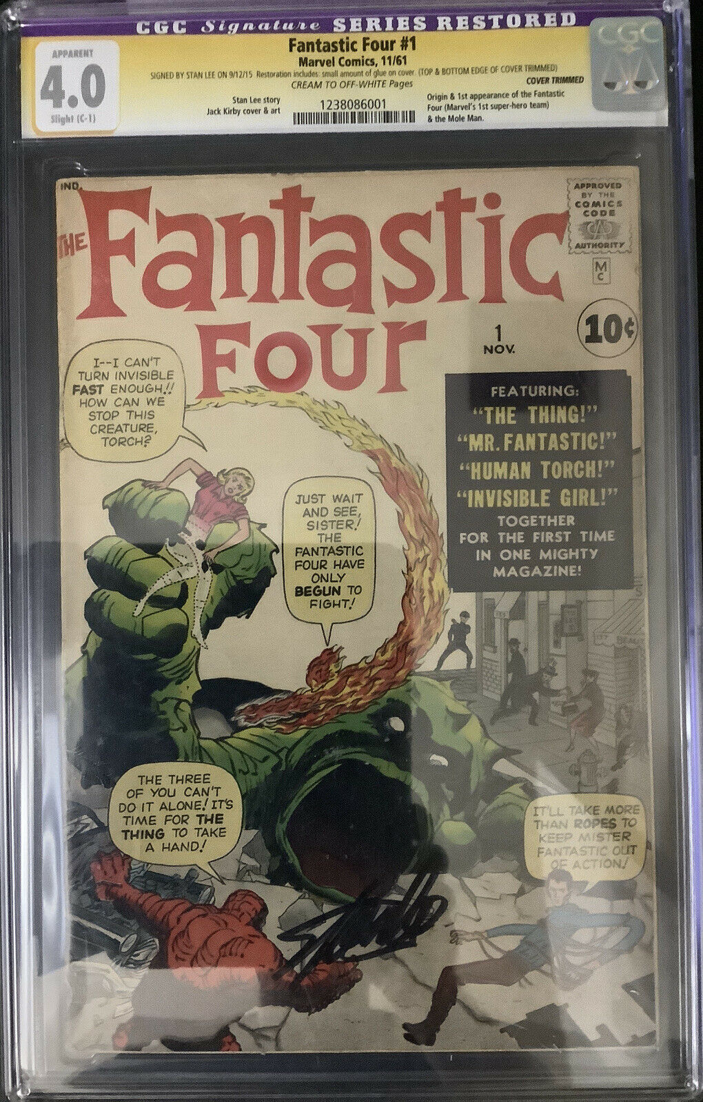 FANTASTIC FOUR #1 CGC SIG SERIES RESTORED 4.0 RESTORED SIGNED BY STAN LEE