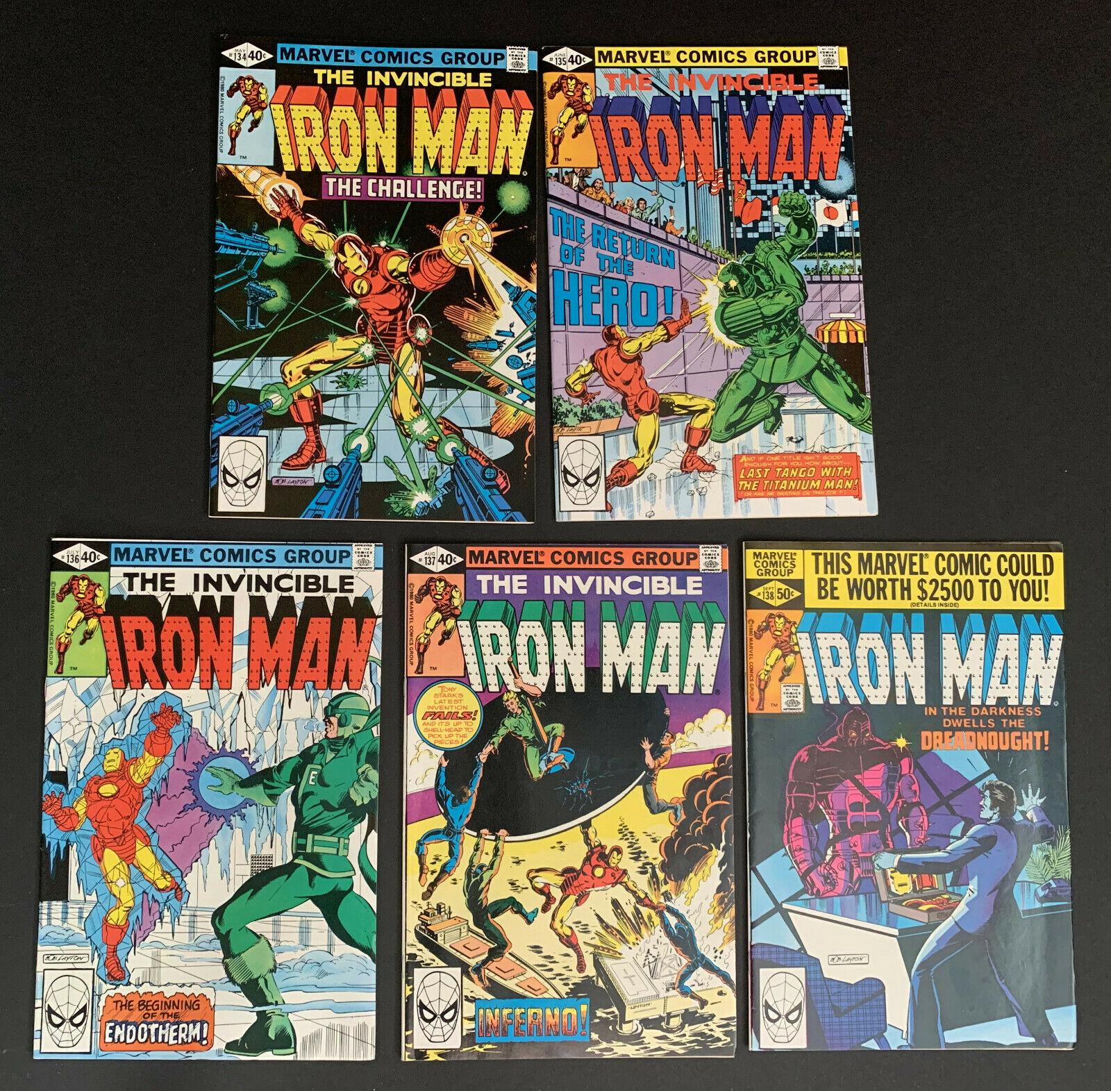 INVINCIBLE IRON MAN #134, 135, 136, 137 & 138 1ST ENDOTHERM MARVEL COMICS