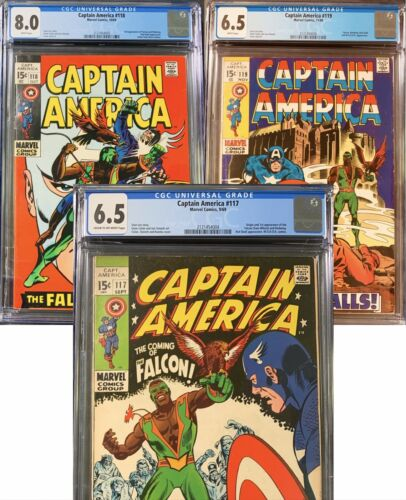 Captain America 117 CGC 6.5 118 8.0 119 6.5 Own All 3 1st -3rd Appearance Falcon
