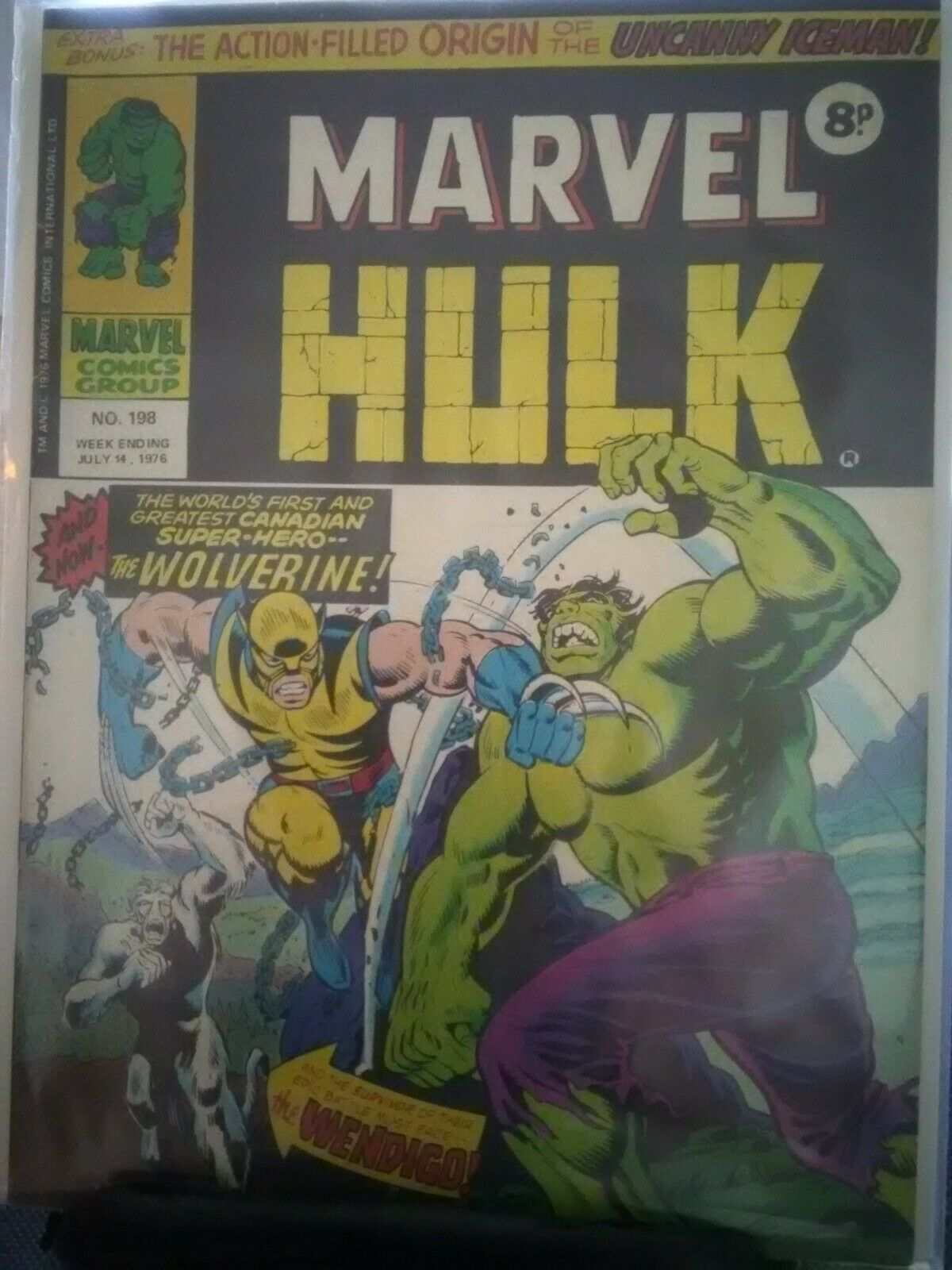 MIGHTY WORLD OF MARVEL no.198 Marvel UK 1976 Incredible Hulk 181 1st WOLVERINE