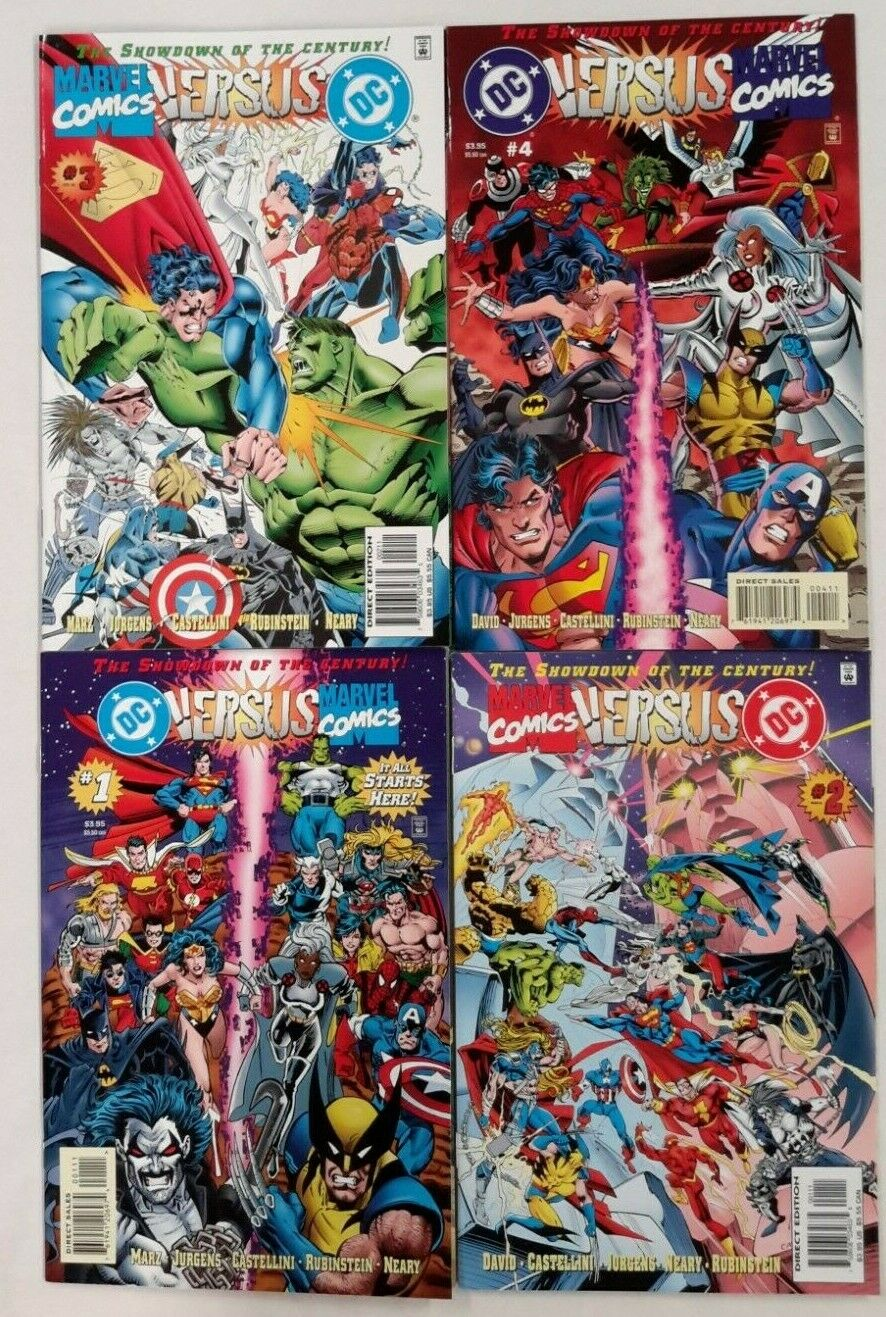 **DC VERSUS MARVEL/MARVEL VERSUS DC #1,2,3,4 + FREE PREVIEW W/ CARD**1996**NM**