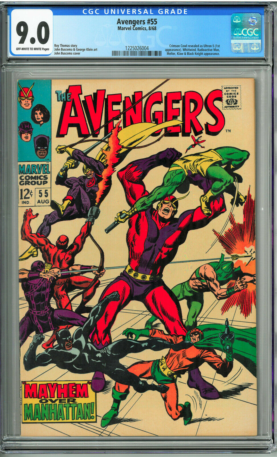 Avengers # 55 CGC 9.0 Off-White to White Pages First Ultron  NO RESERVE