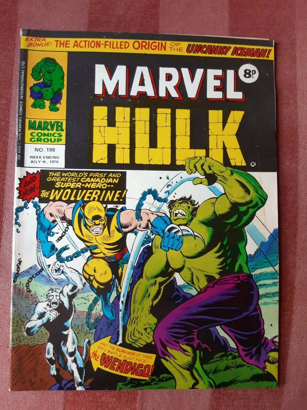 ?MIGHTY WORLD OF MARVEL # 198 1ST WOLVERINE INCREDIBLE HULK # 181 UK 1976?