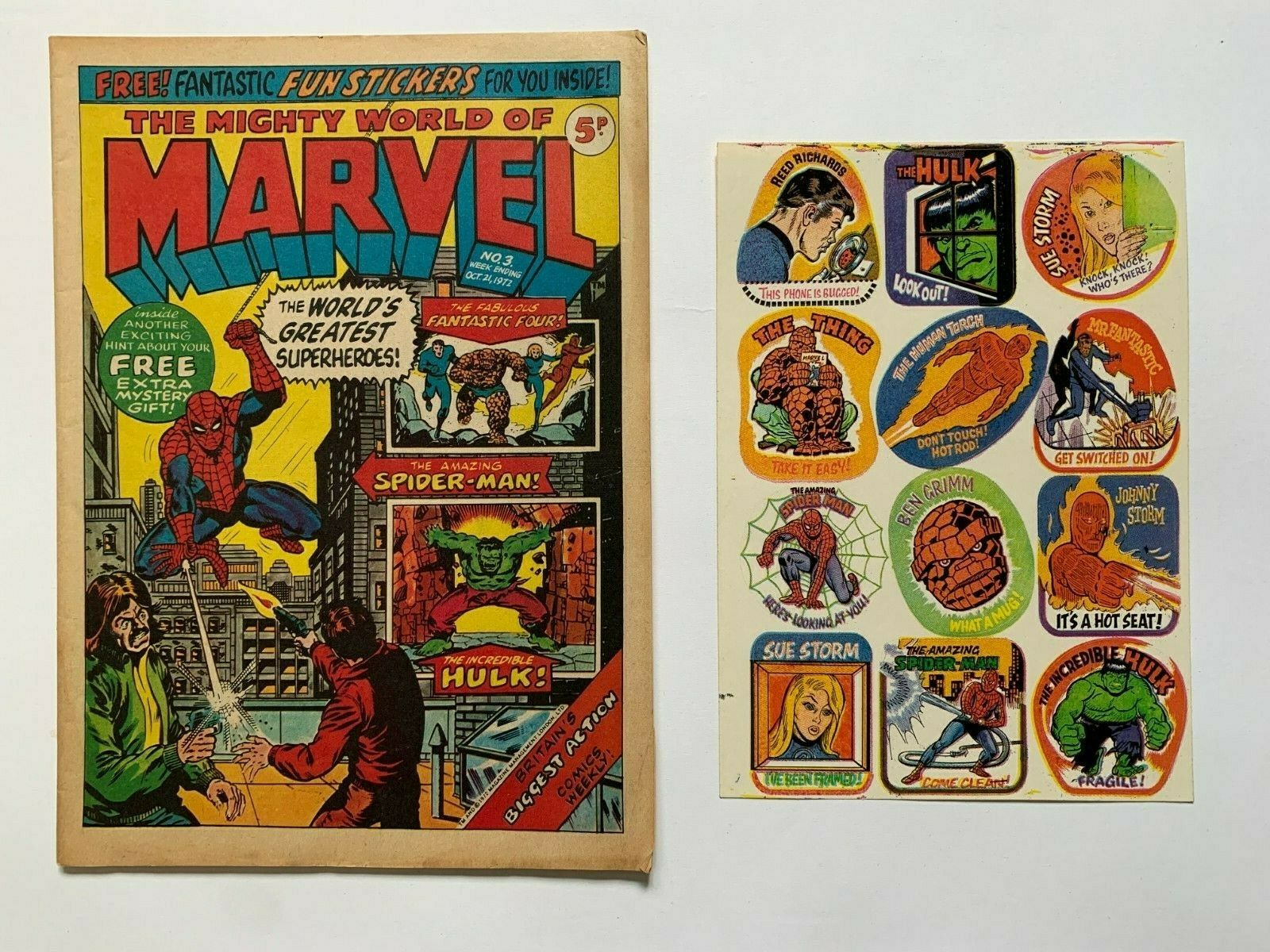 MIGHTY WORLD OF MARVEL NO 3 - 1972 + FREE GIFT STICKERS - FINE/VERY FINE