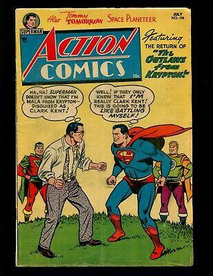 Action Comics #194 VGFN Plastino Superman Congo Bill Tommy Tomorrow Vigilante