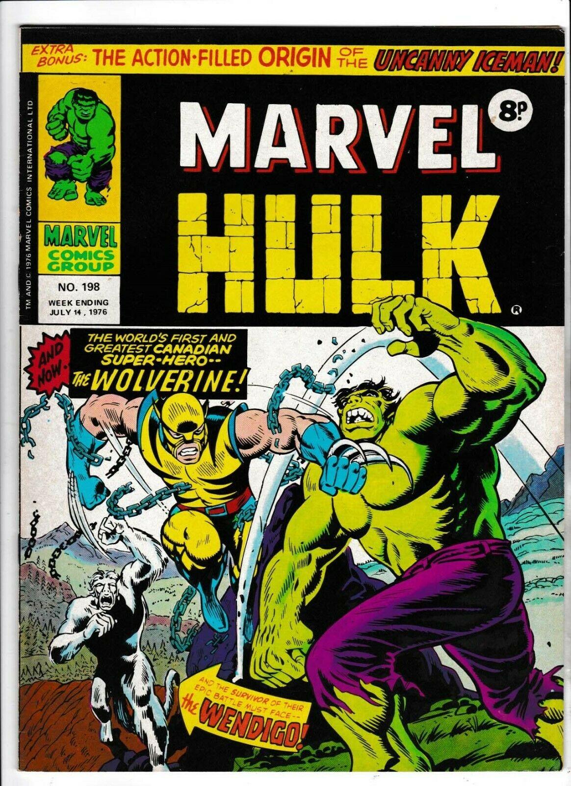 MIGHTY WORLD OF MARVEL HULK #198 UK HULK #181 1st APP OF WOLVERINE VGC 1976